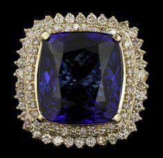 14KT Yellow Gold 43.23ct GIA Cert Tanzanite and Diamond : Lot 301