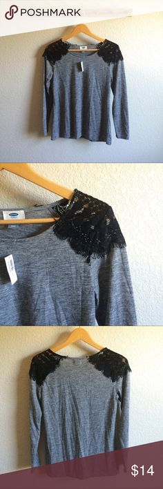 """Lace Shoulder Top Condition➝new with tags Material➝80% polyester, 20% rayon Length➝25"""" Bust flat➝16.5"""" Old Navy Tops Tees - Long Sleeve"""