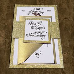 50th Gold Foil - Wedding Invitations, 50th Gold Glitter Wedding Invitations,Gold Glitter Invite, 50th Anniversary, Foil Glitter, 50th Invite by BloomingInvitations on Etsy