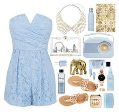 """""""Modern Cinderella"""" by dailyoutfits0113 ❤ liked on Polyvore featuring ASOS, Charlotte Olympia, philosophy, Ancient Greek Sandals, Gucci, Alexis Bittar, Essie, Drybar, Wiedemann Candles and Aveda"""