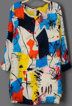Multicolor+Long+Sleeve+Graffiti+Print+Dress+US$24.67
