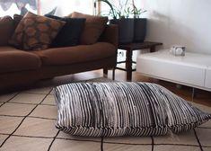 "Liljan Lumo: ""Usva"" matosta räsymattotyynyksi lattialle  Rag rug floor pillow sewed from a hand weaved rag rug. Made  and design by Tiina Lilja/Liljan Lumo"