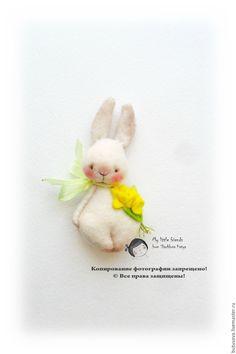 Купить МЯТЛИК. Кролик. Миниатюрная игрушка. БРОШЬ - желтый, кролик, заяц, зайка, bunny, брошь