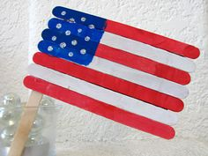Popsicle stick American flag, made this for Memorial Day Craft