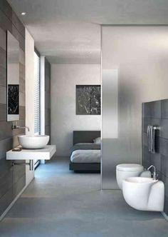 aménagement de maison cloison transparent chambre à coucher toilettes