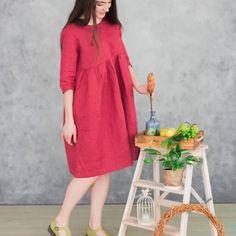 7538c5419c Eco linen dress Soft linen dress Fashion linen dress Red loose fit dress  Eco linen clothes Red linen tunic Linen vegan dress Loose fitting. Etsy