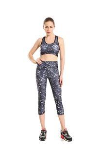 新款显瘦运动透气气质优雅灰圆点印花女士七分瑜伽裤7yoga-0008