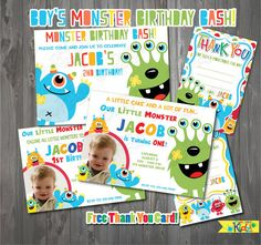 Free Thank You Card. Boy's Monster Party Invitation, Monster Birthday, First Birthday Party, 1st birthday bash, Printable Party Invitation