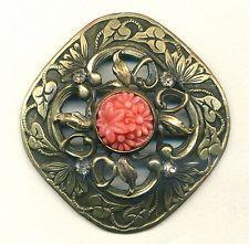 Large Antique Gay 90/ Jewel Button...Square...Ivy Border...Faux Coral Cabochon