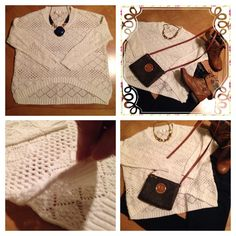 """Chunky knit crochet creme Hi-Low sweater 5$ This sweater is """"Too Cute""""!:) L/S Chunky Knit Crochet sweater by Lumiere❤️ Color-creme/cream. On Trend Hi-Low cut. Side vents@ bottom. Will need to wear a tank/cami or bandeau underneath. Beautiful/Lk. New condition‼️ Buy w/% confidence‼️ Top/5 StarSeller‼️ NEW LISTING ONLY $5 WHEN ADDED TO A BUNDLE‼️ Lumiere Sweaters Crew & Scoop Necks"""