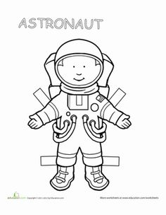 Show your child she can be anything she wants to be with these inspirational paper dolls. This one's an astronaut, and if your child is fascinated by the sky, the stars and the possibility of life in outer space, then she'll love this paper doll. Paper Doll Template, Paper Dolls Printable, Community Workers, Community Helpers, Space Coloring Pages, Astronauts In Space, Space Theme, Space Crafts, Clipart