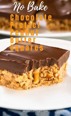 No-Bake! Chocolate Pretzel Peanut Butter Squares No-Bake Chocolate Pretzel Peanut Butter Squares are creamy and delicious. Sweet peanut butter and crunchy pretzels topped with thick chocolate. Pretzel Desserts, Peanut Butter Desserts, Chocolate Desserts, Just Desserts, Delicious Desserts, Peanut Butter Pretzel, Chocolate Chocolate, No Bake Desserts, Baking Recipes