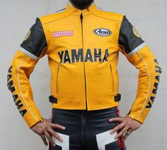 Yellow Yamaha Racing Motorcycle Leather Jacket, Mens Yamaha Biker Leather Jacket #Handmade #Motorcycle
