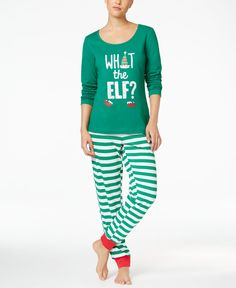 Oh, what fun! The Family Pajamas What the Elf? sleep set pairs a cute printed top with comfy striped sleep pants. | Cotton/polyester | Machine washable | Imported | Top features scoop neck and graphic