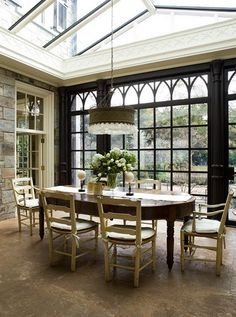 Conservatory Dining Area - Stone Wall, Black Gothic Arch Windows - Inspired Design
