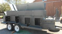 Custom Dog kennel trailer with bedliner coating. Holds 8 dogs, includes fresh water, forced air, cooler box, game box, extra large gun box, and all safety features. Awesome hunting trailer.  See more at carhartcustoms.com