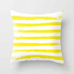 Sunny Yellow STRIPES Handpainted Brushstrokes Throw Pillow by PELA - Cover x with pillow insert - Indoor Pillow Couch Pillows, Down Pillows, Throw Pillows, Nautical Pillows, Cotton Bedding, Yellow Stripes, Brush Strokes, Bed Design, Pillow Inserts