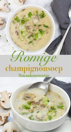 Romige champignonsoep #recept #recipe #soup #souprecipes #soep #vegetarianrecipes #vegetarisch
