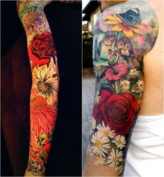 Mom Tattoos, Future Tattoos, Body Art Tattoos, Tatoos, Arm Sleeve Tattoos, Girls With Sleeve Tattoos, Flower Sleeve, Flower Tattoo Shoulder, Pretty Flower Tattoos