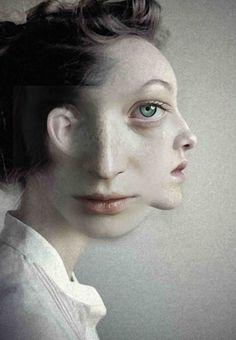 """Sad"" - Antonio Mora Diez {surreal female woman two-face portrait painting) - It's always in the eyes for me! Photomontage, Photoshop, Foto Montages, Montage Photo, Art Et Illustration, Two Faces, Art Moderne, Surreal Art, Double Exposure"