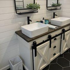 Kitchen Island with Sliding Barn Door Farmhouse Bathroom Sink, Farmhouse Vanity, Farmhouse Remodel, Basement Bathroom, Bathroom Interior, Small Bathroom, Bathroom Ideas, Budget Bathroom, Bathroom Sinks