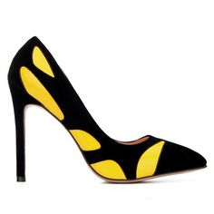 Желтый цвет блока Остроконечные Toe Высокие каблуки - US$35.95 -YOINS
