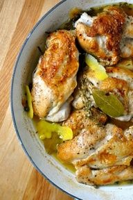 from theurbanspork.com; Adapted from Food  Wine recipe Zesty Braised Chicken -- i made this last night for dinner, and it was awesome!!!!  messy to make, but awesome nonetheless...Just be careful when you add the wine to the hot pan containing a little oil; you could get a huge flareup.  It happened in one pan, but not in the other.  Served with fresh green beans and egg noodles.