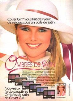 Christie Brinkley Cover Girl ad She will always be the most beautiful woman in the world, to me. Vintage Makeup Ads, Retro Makeup, Vintage Beauty, Vintage Ads, 1980s Makeup, Beauty Ad, Beauty Makeup, Hair Beauty, Beauty Products