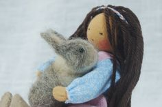 Amandine and her rabbit, waldorf figurine, waldorf doll by MainsDeLaine on Etsy https://www.etsy.com/listing/254147990/amandine-and-her-rabbit-waldorf-figurine