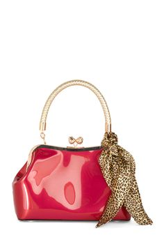 Adorned to Be Wild Bag. Go for eye-catching style with this glossy red-pink purse and its accompanying silky leopard-print handkerchief! #red #modcloth