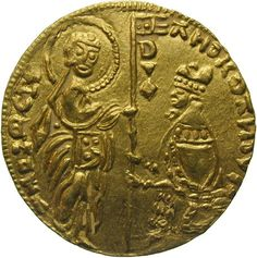 """The first """"ducato"""" coin was likely issued under Roger II of Sicily in 1140 then revived in the Republic of Venice in 1284 under Doge Giovanni Dandolo. The ducat (called """"zecchino"""" after 1554 for zecca, Venetian for mint) featured the Doge kneeling before St. Mark on the obverse and Jesus on the reverse. The 1913 Webster states the ducat was worth the equivalent of """"9 shillings and 4 pence sterling"""", approx. 2 US dollars ($44 in 2010 dollars). The silver ducat was half this value."""