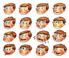 Emotions, Cartoon facial expressions set, Hand-drawn