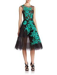 Oscar de la Renta Embroidered Tulle Illusion Gown