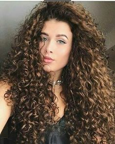 trendy hairstyles and colors side part long curly hair; middle parted long curly hair Long Curly Hair, Big Hair, Curly Hair Styles, Natural Hair Styles, Brown Curly Hair, Curly Bob, Gorgeous Hair, Hair Type, Hair Hacks