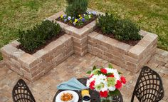 Edge the patio with these corners....perfect for low maintenance plants