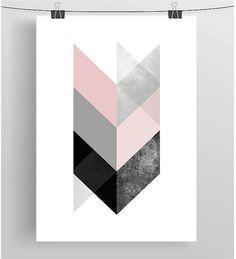 Scandinavian Art Blush Print Chevron Art Geometric por PrintAvenue