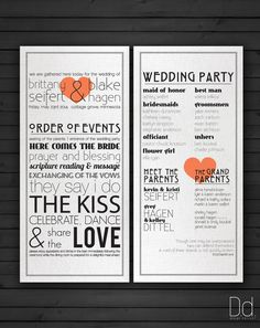 Printable Wedding Program  Trademark Order of by DesignDeliver // love these programs! #wedding #programs