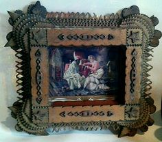 Primitive Tramp Art. Very Intricate Layered Frame.