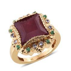SUGAR by Gay Isber Niassa Ruby (Sqr 10.70 Ct), Tanzanite, Brazilian Emerald Ring in 14K YG Overlay Sterling Silver Nickel Free (Size 8.0) TGW 11.020 cts.