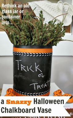 Take a plain glass jar, vase, or container and turn it into a seasonal chalkboard vase!