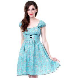 SALE! Bon Heur Cap Sleeve Dress - Unique Vintage - Prom dresses, retro dresses, retro swimsuits.