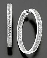 14k White Gold Earrings, Diamond Hoops (1 ct. t.w.)