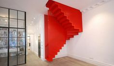 Amazing Bespoke Red Hot Perforated Steel Suspended Staircase by Diapo