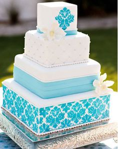 WeddingChannel Galleries: Blue Damask Wedding Cake
