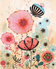 pen and ink surrealism art design illustration flowers