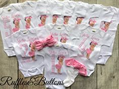 Monthly bodysuits baby first year baby shower gift baby Baby Girl Onsies, Cute Newborn Baby Girl, Baby Boy, Diy Baby, Onesies, Baby Shower Gifts, Baby Gifts, Ruffles, Storing Baby Clothes