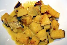 Roasted Butternut Squash in Yellow Coconut Curry Sauce #vegan