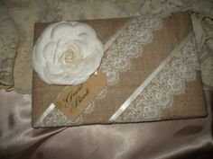 Wedding Burlap and Lace Guest Book by HighlandCottageArts on Etsy