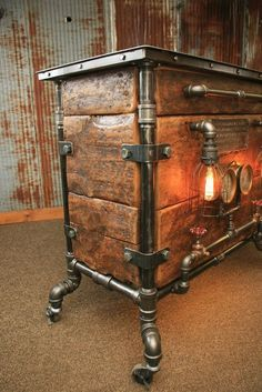 Steampunk Industrial Bar / Hostess Stand / Table / Pub / Buffet / - All For Decoration