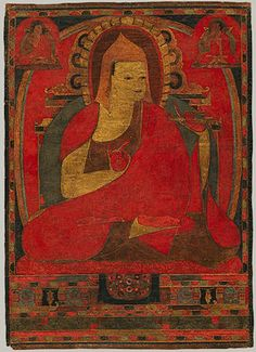 Portrait of Atisha, Tibetan Buddhist Kadampa Thangka, ca. 1100, Tibet